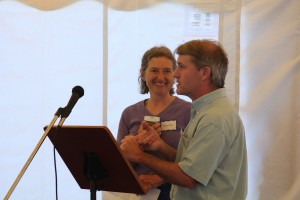 Peggy Willey accepts the Patchen Miller Award