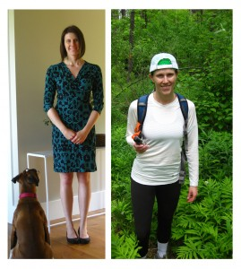 "My ""in-office"" look (and adoring accessory) versus my tick-induced fashion choice for monitoring."