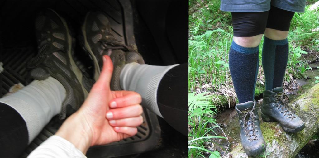 Anti-tick sock placement.