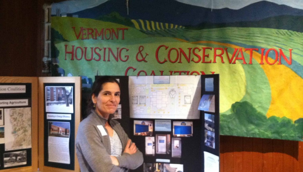 UVLT's VP of Conservation, Peg Merrens, enjoys some of the many displays at VHCB's 25th Anniversary celebration.