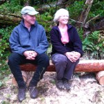 Pete Helm, UVLT Vice President, Stewardship and Connie Snyder enjoy a stop on the Linny Levin Trail.