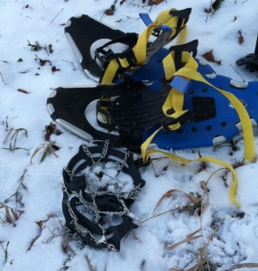 Snowshoes or microspikes will help you navigate slippery, snowy places safely.