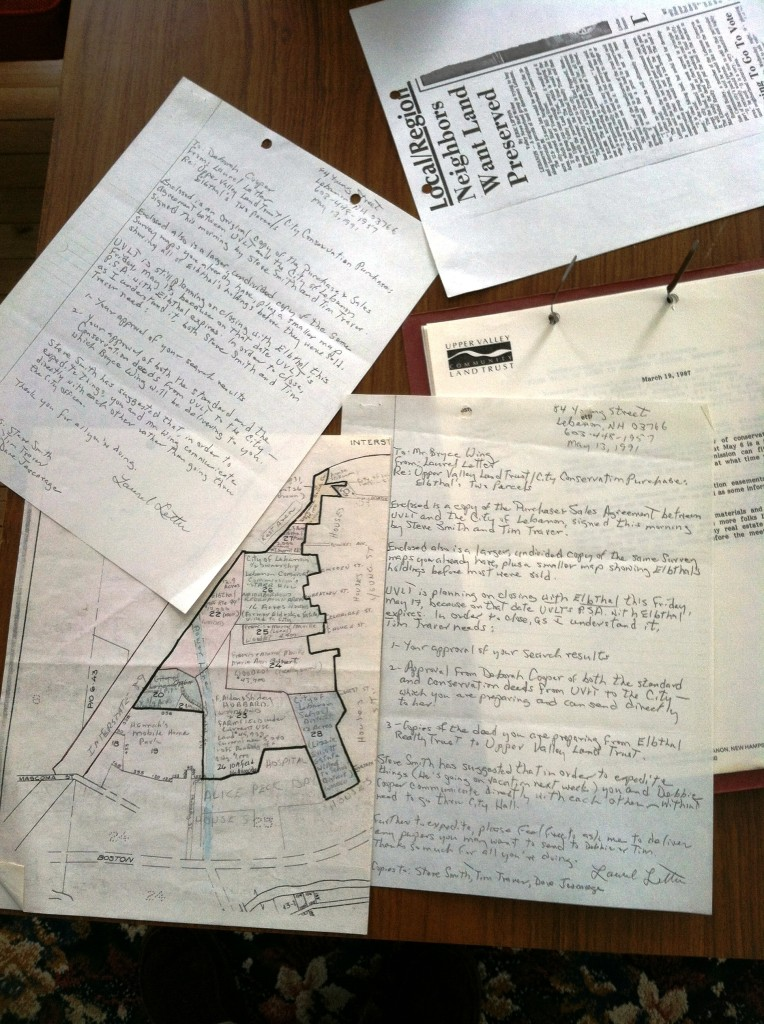 """Laurel's handiwork: all conducted without the aid of computers, faxes and printers. Mark Goodwin, Lebanon City Planner, said """"Although I never met Laurel, her substantial efforts related to conservation have frequently been observed during my decade at City Hall. Pre-GIS, there was the famed, """"Laurel Letter"""" map, that highlighted existing """"conservation lands"""". I used that for 6 years prior to finally transferring all the information that she had collected to my GIS database. Additionally, in organizing all the materials associated with the conservation properties, I have observed first-hand the numerous letters of correspondence that are testament to her countless hours of volunteer contribution, dedication, etc. """""""