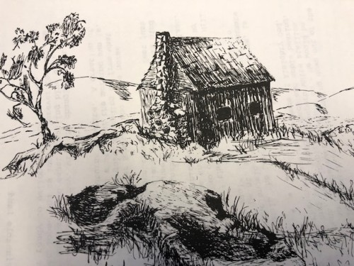 The cabin on Pinnacle. Illustration by Linda Piper.